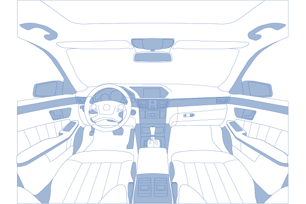 Textile Bestandteile eines Autoinnenraums