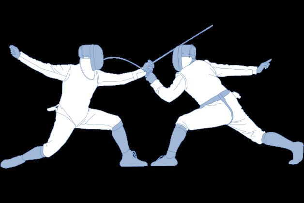 Fechtsportler mit Schutzbekleidung