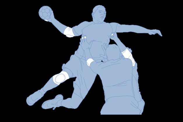 Handballsportler mit Bandagen