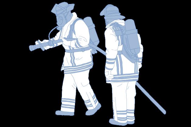 Feuerwehrmänner mit Einsatzschutzbekleidung